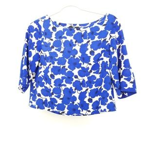 H&M Blue Floral Crop Top Blouse 3/4 length sleeves